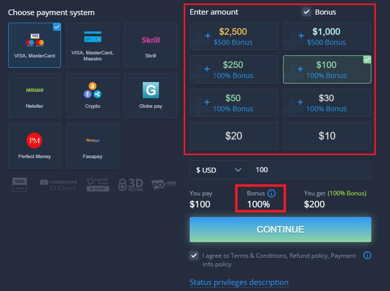 ExpertOption वेलकम प्रमोशन - $500 तक 100% जमा बोनस